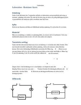 Labbrapport: Resistans i Krets - Fysik