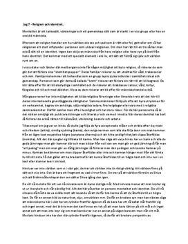 Reflektion i Religionskunskap: Religion och Identitet