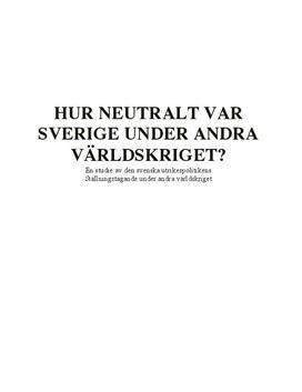 Svensk neutralitetspolitik | Andra världskriget