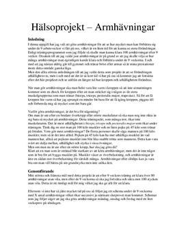 Hälsoprojekt: Armhävningar - Idrott och hälsa 1