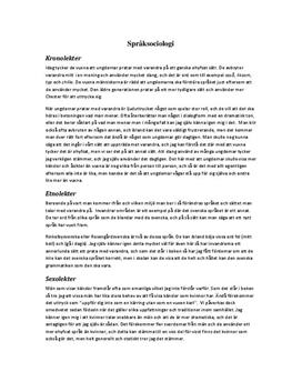 Fördjupningsuppgift: Språksociologi - Svenska 2