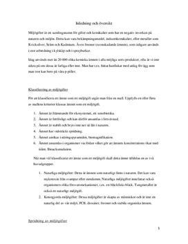 Fördjupningsuppgift: Miljögifter - Biologi 1