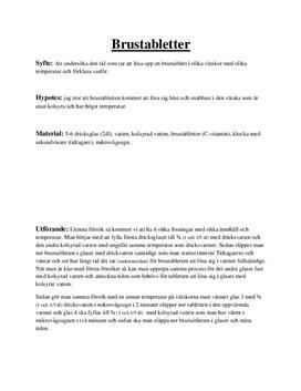 Labbrapport: Upplösning av brustablett - Kemi B