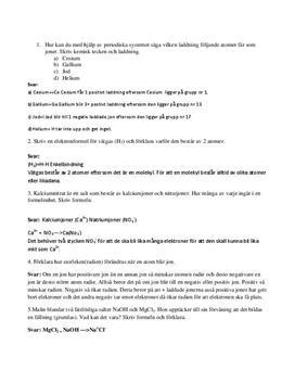 Frågor och svar: Kemiska bindningar och syror - Kemi A
