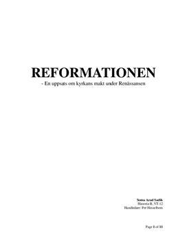 Fördjupningsarbete: Renässansen och reformationen - Historia B