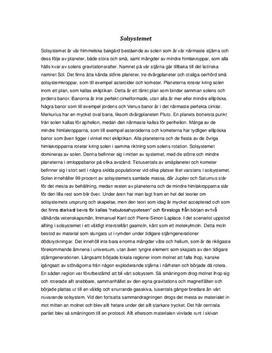 Fördjupningsuppgift: Solsystemet - Fysik, årskurs 9