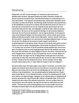 Globalisering - Fördelar och Nackdelar
