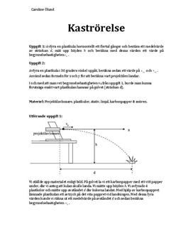 Kaströrelse: Labbrapport i Fysik B