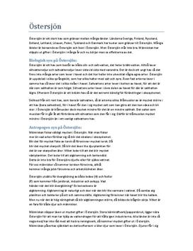 Naturkunskap 1b: Östersjön - Fördjupningsuppgift