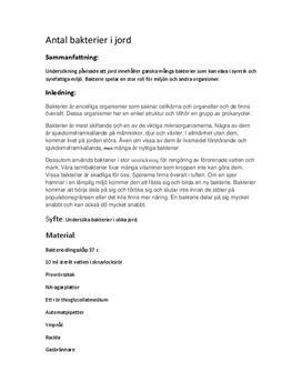 Bakterier i jord: Labbrapport i Biologi 1