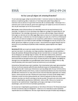 Tro och vetenskap | Medeltiden | Upplysningen | Dagens samhälle