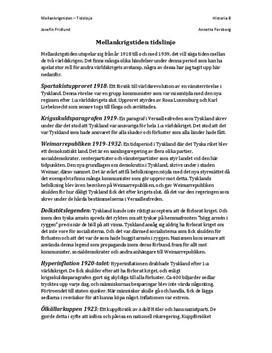 Fördjupningsuppgift: Viktiga årtal och händelser under Mellankrigstiden - Historia B
