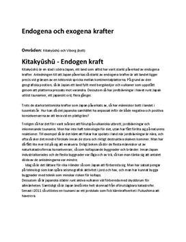 Fördjupningsuppgift: Exogena och Endogena krafter - Geografi 2