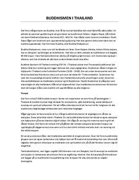 Utredande text: Buddhismen i Thailand - Religionskunskap 1