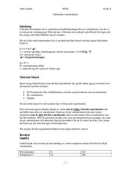 Verkningsgrad, energi och effekt hos vattenkokare - Labbrapport i Fysik, årskurs 9