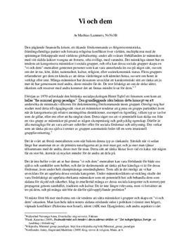 Socialpsykologi: Gruppmentalitet och diskriminering   Diskuterande text