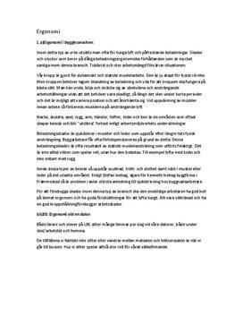Fördjupningsuppgift: Ergonomi på byggarbetsplats och framför dator - Idrott och hälsa