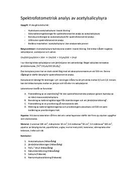 Spektrofotometrisk analys av acetylsalicylsyra - Labbrapport i Kemi 2