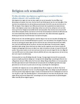 Utredande text: Religion och sexualitet - Religionskunskap 1