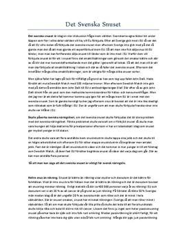 Debattartikel: Det Svenska Snuset - Svenska 1