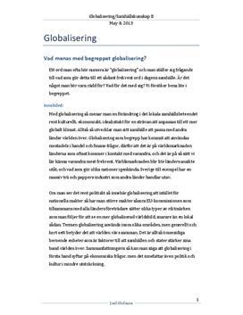 Globalisering - Orsaker och problem