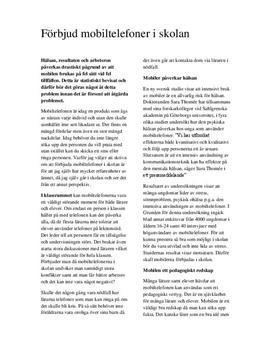Debattartikel: Förbjud mobiltelefoner i skolan - Svenska 1