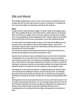 Utredande text: Abort ur etiska perspektiv - Religionskunskap A