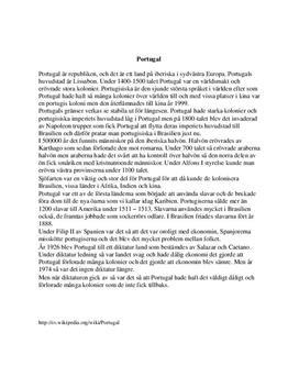 Fördjupningsuppgift: Portugals historia - Historia B