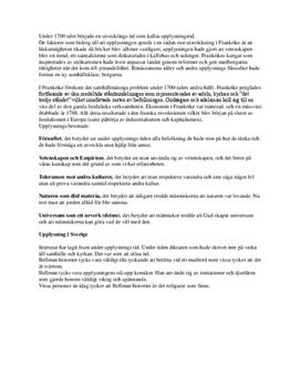 Fördjupningsuppgift: Upplysningen och upplysningsförfattare