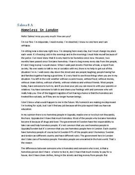 Letter   Homeless in London   Engelska