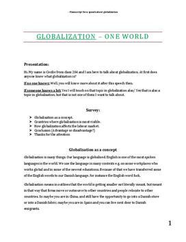 Speech about Globalization | Globalisering