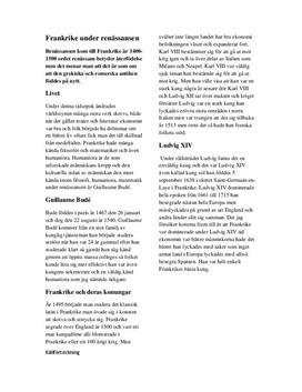 Frankrike under renässansen | Historia A