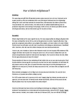 Överproduktion och miljöbovar   Argumenterande text
