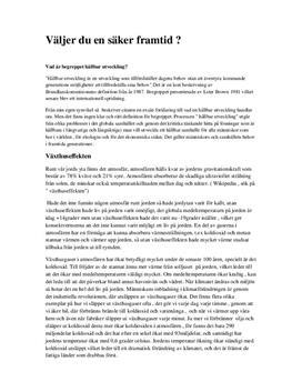 Hållbar utveckling, Växthuseffekten och Överbefolkning   Biologi A
