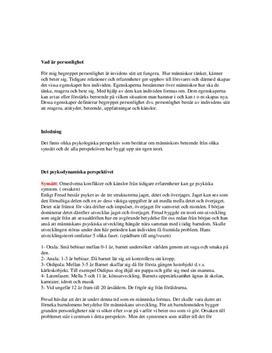 Personlighet och beteende   Psykologi   Fördjupningsuppgift