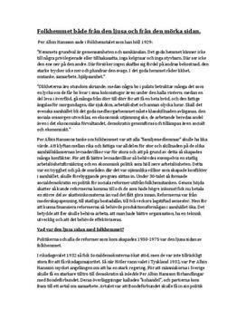 Folkhemmet | Per Albin Hansson | Fördjupningsuppgift