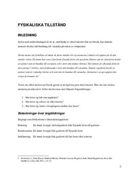 Fysikaliska tillstånd | Atomers rörelse och bindning | Labbrapport | Kemi 1