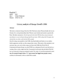 george orwell literary analysis litterar analys  george orwell 1984 literary analysis litterar analys