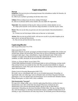 Upplysningen | Begrepp och Filosofer | Historia 1b