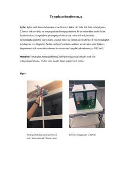 Tyngdaccelerationen g   Tempograf   Labbrapport   Fysik