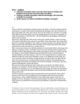 Antiken | Prov | Frågor och Svar | Historia 1b