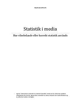 Statistik i media | Vilseledande eller korrekt | Matematik 1b