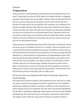 Tvångssyndrom (OCD) och kognitiv beteendeterapi (KBT)   Inlämningsuppgift