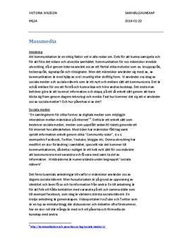 Massmedia och Sociala medier | Analys