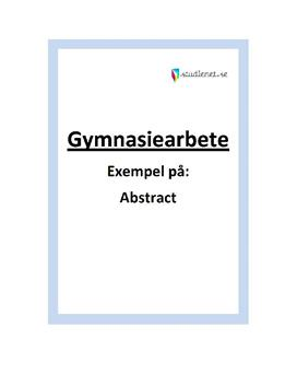 Abstract | Exempel | Gymnasiearbete
