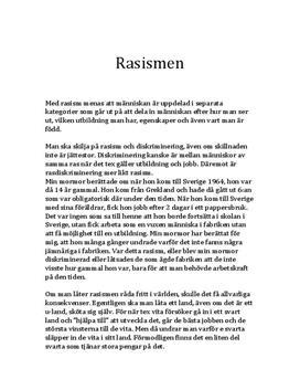 Rasism | Diskriminering | Överlägsenhet | Personlig text