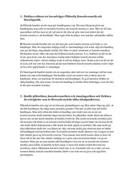 Pliktetik, Konsekvensetik & Sinnelagsetik | Frågor och Svar