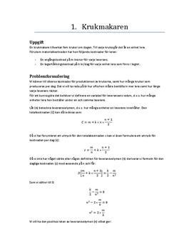 Krukmakaren | Ändringshastighet och derivata | Uppgift