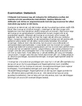 Sveriges och USA   Statsskick   Jämförelse