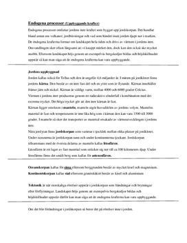 Endogena och exogena processer | Inlämningsuppgift